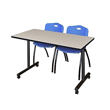 Regency – Table de formation Kobe mobile de 42 x 24 po au fini érable avec 2 chaises empilables M bleues (MKTRCC42PL47BE)