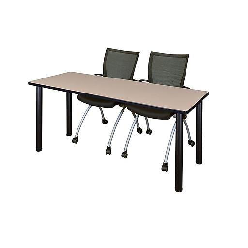 "Regency Kee 60"" x 24"" Training Table- Beige/ Black and 2 Apprentice Chairs- Black(MT60BEBPBK09BK)"