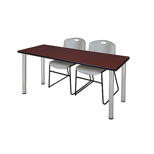 """Regency Kee 60"""" x 24"""" Training Table- Mahogany/ Chrome and 2 Zeng Stack Chairs- Grey  (MT60MHBPCM44GY)"""