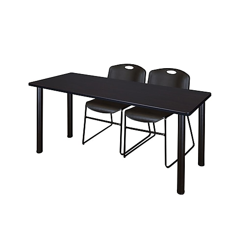 "Regency Kee 60"" x 24"" Training Table- Mocha Walnut/ Black and 2 Zeng Stack Chairs- Black  (MT60MWBPBK44BK)"