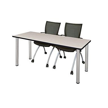 Regency – Table de formation Kee de 60 x 24 po, érable/chrome, avec 2 chaises Apprentice, noir (MT60PLBPCM09BK)