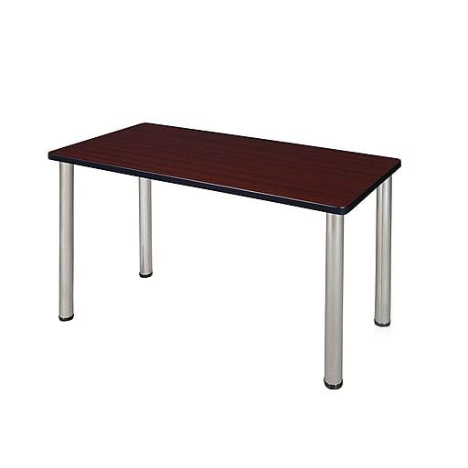 """Regency Kee 42"""" x 24"""" Training Table- Mahogany/ Chrome (MT4224MHBPCM)"""