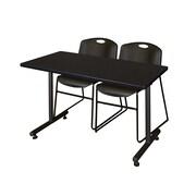 "Regency Kobe 42"" x 24"" Training Table- Mocha Walnut and 2 Zeng Stack Chairs- Black  (MKTRCT42MW44BK)"