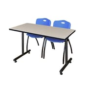 "Regency Kobe 42"" x 24"" Training Table- Maple and 2 'M' Stack Chairs- Blue  (MKTRCT42PL47BE)"