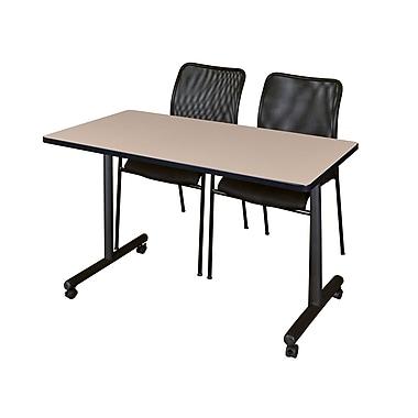 Regency – Table mobile Kobe de 42 x 24 po au fini beige avec 2 chaises empilables Mario noires (MKTRCC42BE75BK)