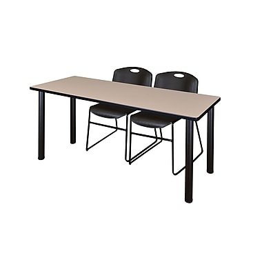 Regency ? Table de formation Kee de 60 x 24 po au fini beige/noir et 2 chaises empilables Zeng