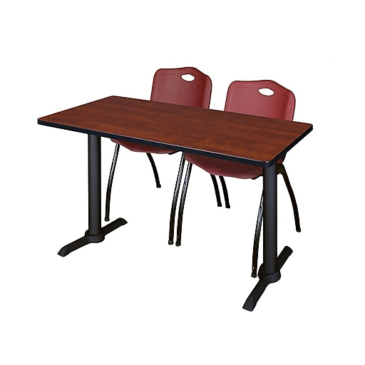 """Regency Cain 42"""" x 24"""" Training Table- Cherry and 2 'M' Stack Chairs- Burgundy (MTRCT4224CH47BY)"""