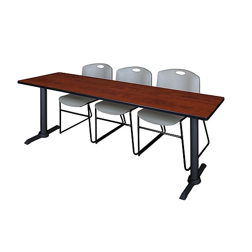 "Regency Cain 84"" x 24"" Training Table- Cherry and 3 Zeng Stack Chairs- Grey (MTRCT8424CH44GY)"
