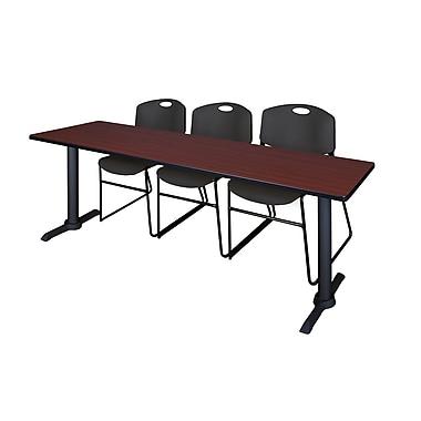 Regency ? Table de formation 84 x 24 po Cain au fini acajou et 3 chaises empilables Zeng