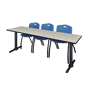 Regency – Table de formation Cain de 84 x 24 po, érable, avec 3 chaises empilables M, bleu (MTRCT8424PL47BE)