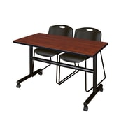 "Regency Kobe 48"" Flip Top Mobile Training Table- Cherry and 2 Zeng Stack Chairs- Black (MKFT4824CH44BK)"