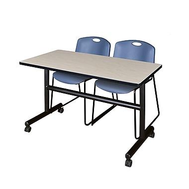 Regency – Table rabattable et mobile Kobe de 48 po au fini érable avec 2 chaises empilables Zeng bleues (MKFT4824PL44BE)