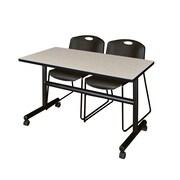 "Regency Kobe 48"" Flip Top Mobile Training Table- Maple and 2 Zeng Stack Chairs- Black (MKFT4824PL44BK)"