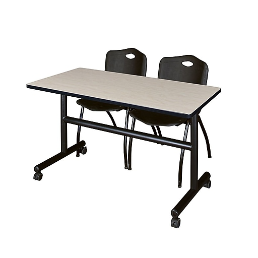 "Regency Kobe 48"" Flip Top Mobile Training Table- Maple and 2 'M' Stack Chairs- Black (MKFT4824PL47BK)"