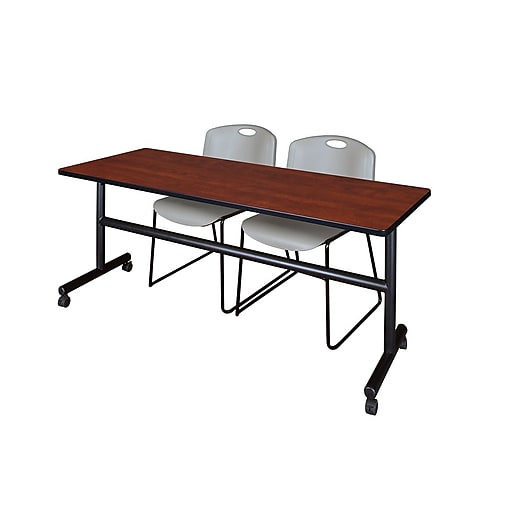 """Regency Kobe 72"""" Flip Top Mobile Training Table- Cherry & 2 Zeng Stack Chairs- Gray (MKFT7224CH44GY)"""