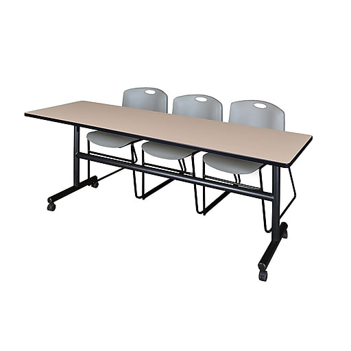 """Regency Kobe 84"""" Flip Top Mobile Training Table- Beige and 3 Zeng Stack Chairs- Grey (MKFT8424BE44GY)"""