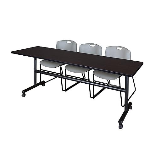 "Regency Kobe 84"" Flip Top Mobile Training Table- Mocha Walnut and 3 Zeng Stack Chairs- Grey (MKFT8424MW44GY)"