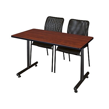 Regency – Table Kobe de 42 x 24 po, cerisier et 2 chaises Mario empilables, noir (MKTRCT42CH75BK)