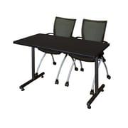 "Regency Kobe 42"" x 24"" Training Table- Mocha Walnut and 2 Apprentice Chairs- Black  (MKTRCT42MW09BK)"