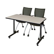 "Regency Kobe 42"" x 24"" Training Table- Maple and 2 Apprentice Chairs- Black  (MKTRCT42PL09BK)"