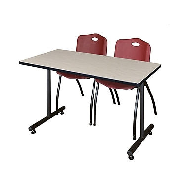 Regency – Table de formation Kobe de 42 x 24 po au fini érable avec 2 chaises empilables M bourgogne (MKTRCT42PL47BY)
