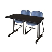 "Regency Kobe 42"" x 24"" Mobile Training Table- Mocha Walnut and 2 Zeng Stack Chairs- Blue  (MKTRCC42MW44BE)"