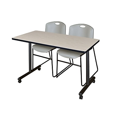 Regency – Table de formation Kobe Mobile de 42 x 24 po au fini érable avec 2 chaises empilables Zeng grises (MKTRCC42PL44GY)