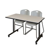 "Regency Kobe 42"" x 24"" Mobile Training Table- Maple and 2 Zeng Stack Chairs- Grey  (MKTRCC42PL44GY)"