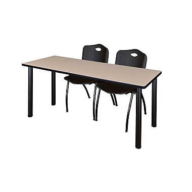 Regency ? Table de formation Kee de 60 x 24 po au fini beige/noir et 2 chaises empilables « M »