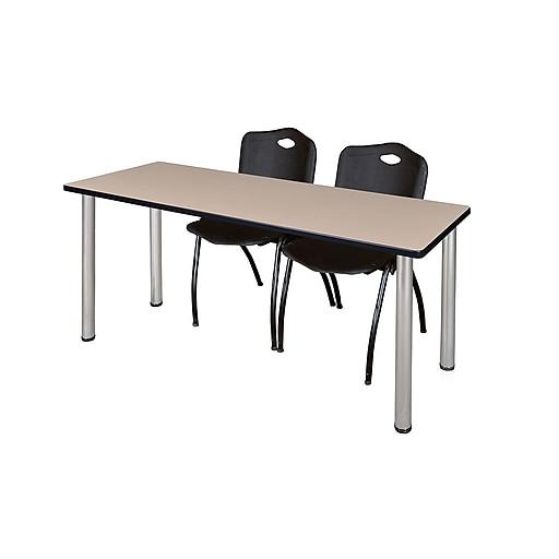 "Regency Kee 60"" x 24"" Training Table- Beige/ Chrome and 2 'M' Stack Chairs- Black  (MT60BEBPCM47BK)"