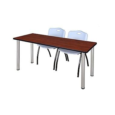 Regency – Table de formation Kee de 60 x 24 po, cerisier/chrome, avec 2 chaises empilables M, gris (MT60CHBPCM47GY)