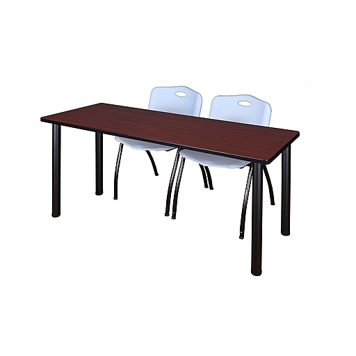 """Regency Kee 60"""" x 24"""" Training Table- Mahogany/ Black and 2 'M' Stack Chairs- Grey (MT60MHBPBK47GY)"""