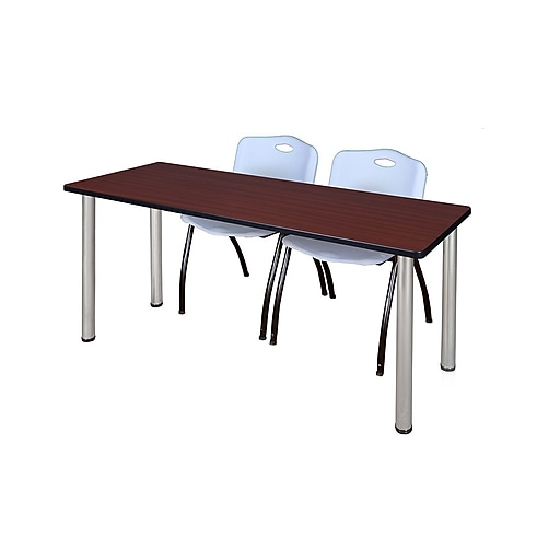 """Regency Kee 60"""" x 24"""" Training Table- Mahogany/ Chrome and 2 'M' Stack Chairs- Grey  (MT60MHBPCM47GY)"""