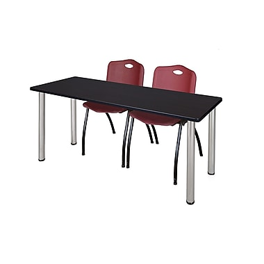 Regency – Table de formation Kee de 60 x 24 po, noyer moka/chrome, avec 2 chaises empilables M, bourgogne (MT60MWBPCM47BY)