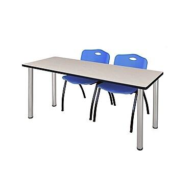 Regency – Table de formation Kee de 60 x 24 po, érable/chrome, avec 2 chaises empilables M, bleu (MT60PLBPCM47BE)