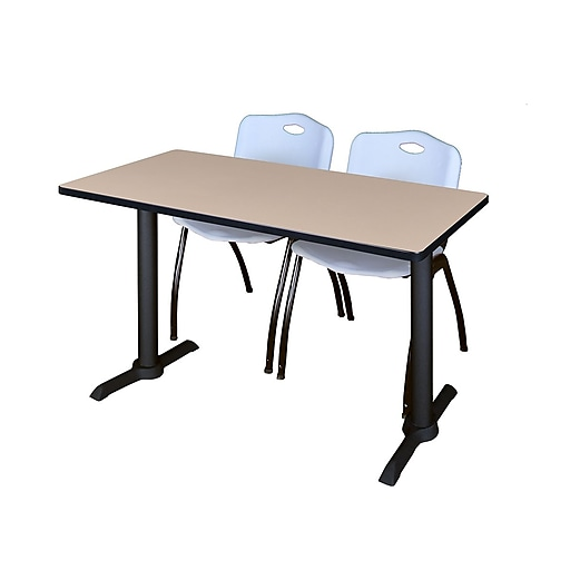 """Regency Cain 42"""" x 24"""" Training Table- Beige and 2 'M' Stack Chairs- Grey (MTRCT4224BE47GY)"""