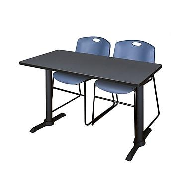 Regency – Table de formation Cain de 42 x 24 po, gris, avec 2 chaises empilables Zeng, bleu (MTRCT4224GY44BE)