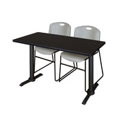 """Regency Cain 42"""" x 24"""" Training Table- Mocha Walnut and 2 Zeng Stack Chairs- Grey (MTRCT4224MW44GY)"""
