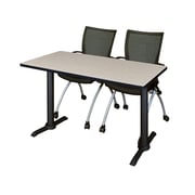 "Regency Cain 42"" x 24"" Training Table- Maple and 2 Apprentice Chairs- Black (MTRCT4224PL09BK)"