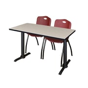 """Regency Cain 42"""" x 24"""" Training Table- Maple and 2 'M' Stack Chairs- Burgundy (MTRCT4224PL47BY)"""