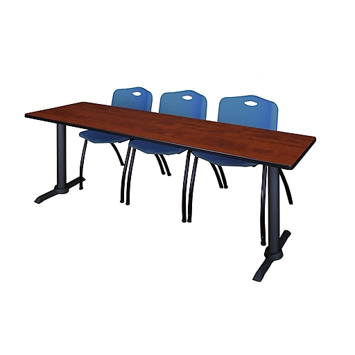 "Regency Cain 84"" x 24"" Training Table- Cherry and 3 'M' Stack Chairs- Blue (MTRCT8424CH47BE)"