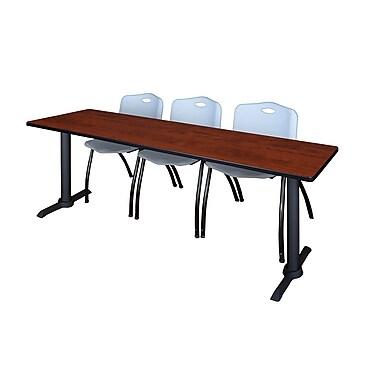 Regency – Table de formation Cain, 84 x 24 po, cerisier, et 3 chaises empilables M, gris (MTRCT8424CH47GY)