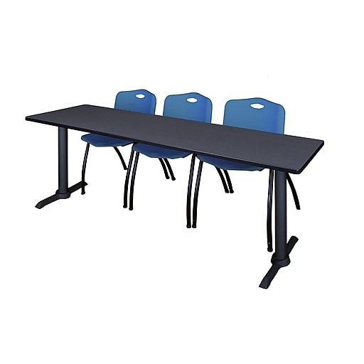 """Regency Cain 84"""" x 24"""" Training Table- Grey and 3 'M' Stack Chairs- Blue (MTRCT8424GY47BE)"""