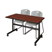 "Regency Kobe 48"" Flip Top Mobile Training Table- Cherry and 2 Zeng Stack Chairs- Grey (MKFT4824CH44GY)"