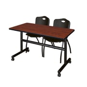 "Regency Kobe 48"" Flip Top Mobile Training Table- Cherry and 2 'M' Stack Chairs- Black (MKFT4824CH47BK)"