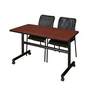 "Regency Kobe 48"" Flip Top Mobile Training Table- Cherry and 2 Mario Stack Chairs- Black (MKFT4824CH75BK)"