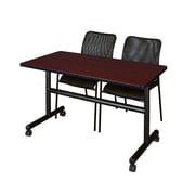 "Regency Kobe 48"" Flip Top Mobile Training Table- Mahogany and 2 Mario Stack Chairs- Black (MKFT4824MH75BK)"
