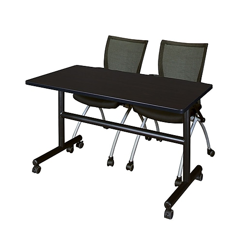 "Regency Kobe 48"" Flip Top Mobile Training Table- Mocha Walnut and 2 Apprentice Chairs- Black (MKFT4824MW09BK)"