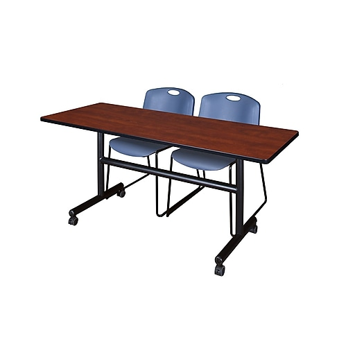 "Regency Kobe 60"" Flip Top Mobile Training Table- Cherry & 2 Zeng Stack Chairs- Blue (MKFT6024CH44BE)"