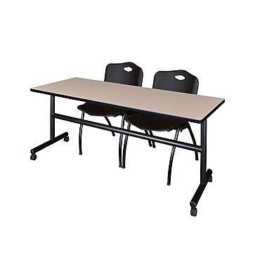 Regency ? Table rabattable et mobile Kobe de 72 po au fini beige avec 2 chaises empilables « M »